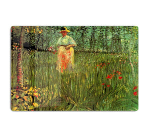 A Woman Walking in a Garden by Van Gogh HD Metal Print