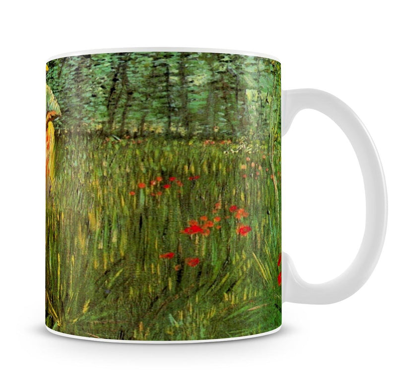 A Woman Walking in a Garden by Van Gogh Mug - Canvas Art Rocks - 4