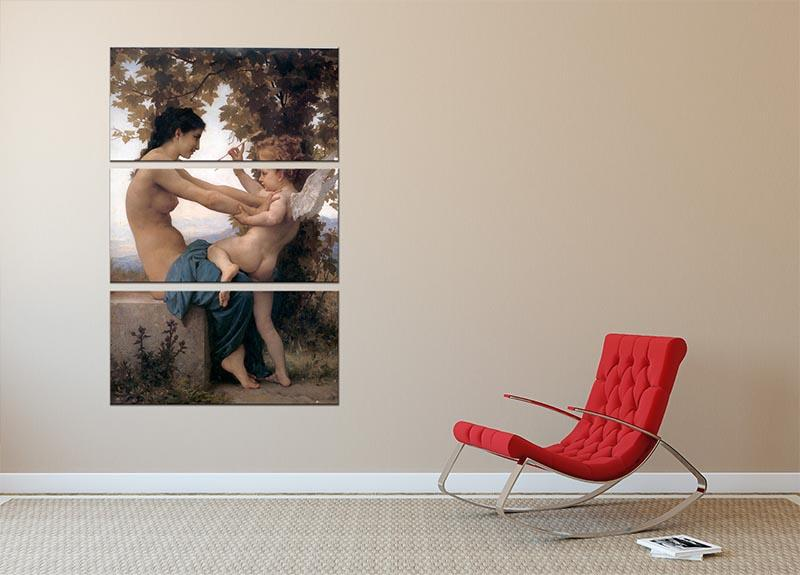 A Young Girl Defending Herself Against Eros By Bouguereau 3 Split Panel Canvas Print - Canvas Art Rocks - 2