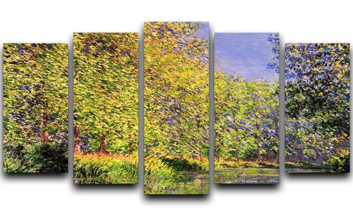 A bend of the Epte Giverny by Monet 5 Split Panel Canvas