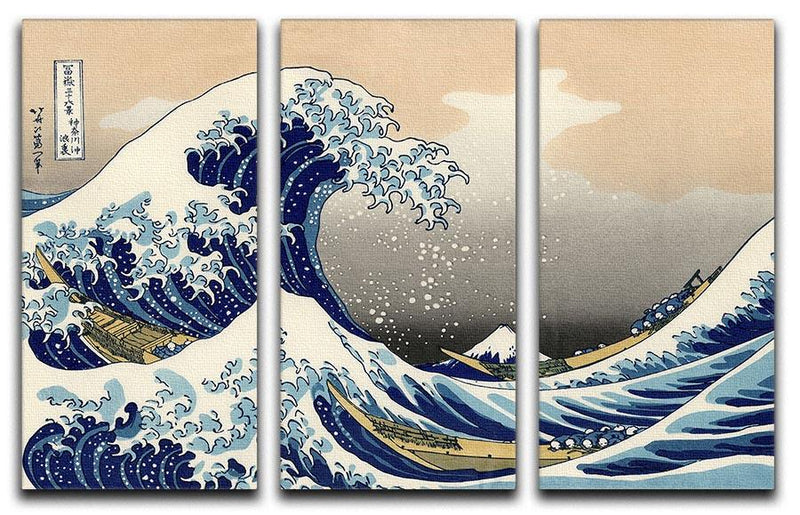 A big wave off Kanagawa by Hokusai 3 Split Panel Canvas Print - Canvas Art Rocks - 1