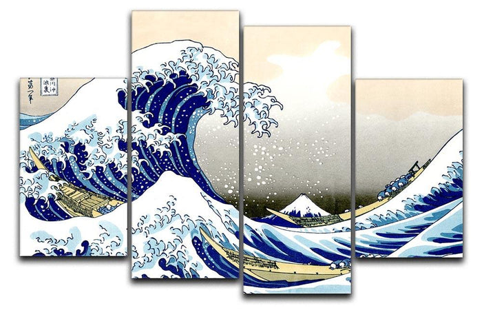 A big wave off Kanagawa by Hokusai 4 Split Panel Canvas