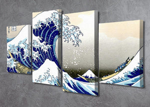 A big wave off Kanagawa by Hokusai 4 Split Panel Canvas - Canvas Art Rocks - 2