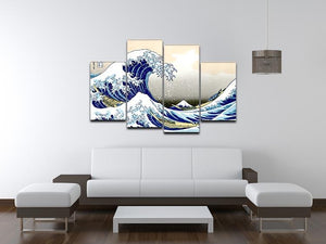 A big wave off Kanagawa by Hokusai 4 Split Panel Canvas - Canvas Art Rocks - 3