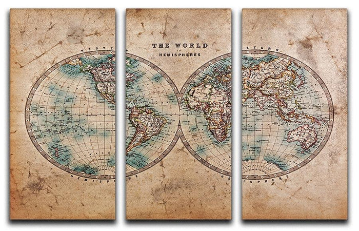 A genuine old stained World map 3 Split Panel Canvas Print