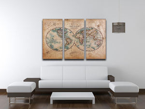 A genuine old stained World map 3 Split Panel Canvas Print - Canvas Art Rocks - 3