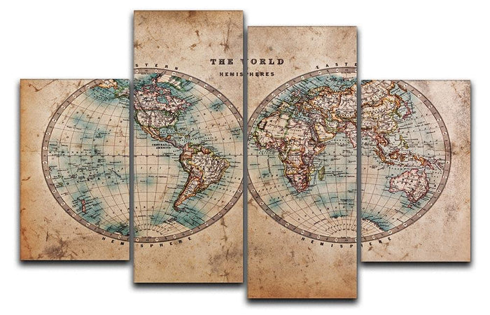 A genuine old stained World map 4 Split Panel Canvas