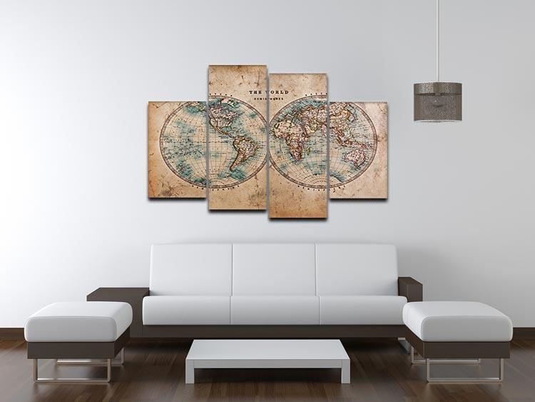 A genuine old stained World map 4 Split Panel Canvas  - Canvas Art Rocks - 3