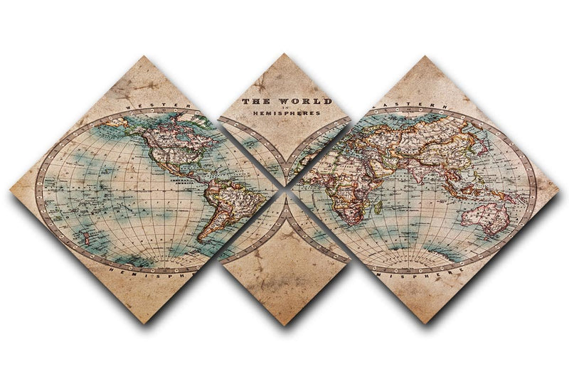 A genuine old stained World map 4 Square Multi Panel Canvas  - Canvas Art Rocks - 1