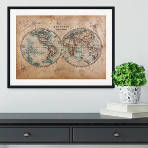 A genuine old stained World map Framed Print - Canvas Art Rocks - 1