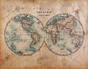 A genuine old stained World map Wall Mural Wallpaper - Canvas Art Rocks - 1