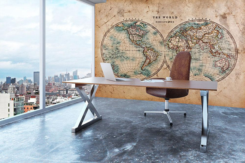A genuine old stained World map Wall Mural Wallpaper - Canvas Art Rocks - 3