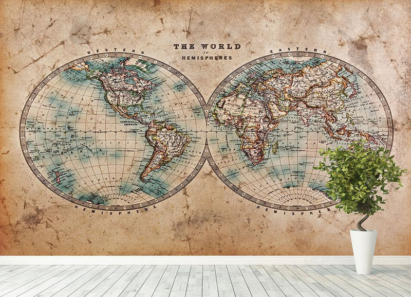 A genuine old stained World map Wall Mural Wallpaper - Canvas Art Rocks - 4