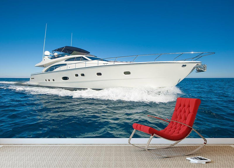 A luxury private motor yacht Wall Mural Wallpaper - Canvas Art Rocks - 1