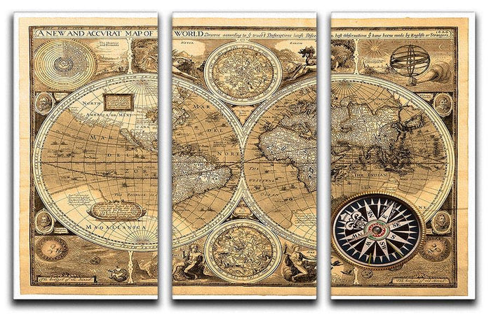 A new and accvrat map of the world 3 Split Panel Canvas Print