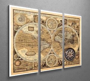 A new and accvrat map of the world 3 Split Panel Canvas Print - Canvas Art Rocks - 2