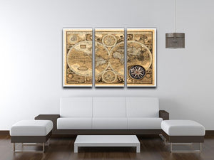 A new and accvrat map of the world 3 Split Panel Canvas Print - Canvas Art Rocks - 3