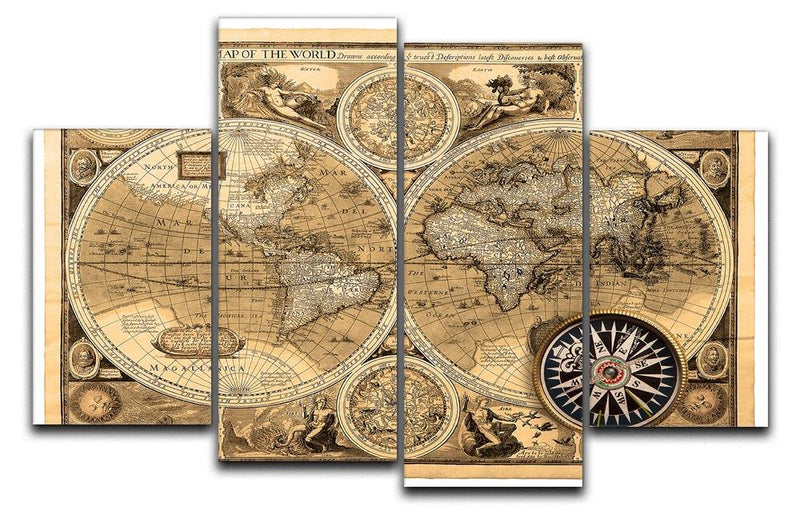 A new and accvrat map of the world 4 Split Panel Canvas  - Canvas Art Rocks - 1