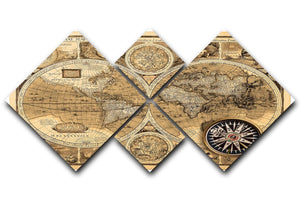 A new and accvrat map of the world 4 Square Multi Panel Canvas  - Canvas Art Rocks - 1