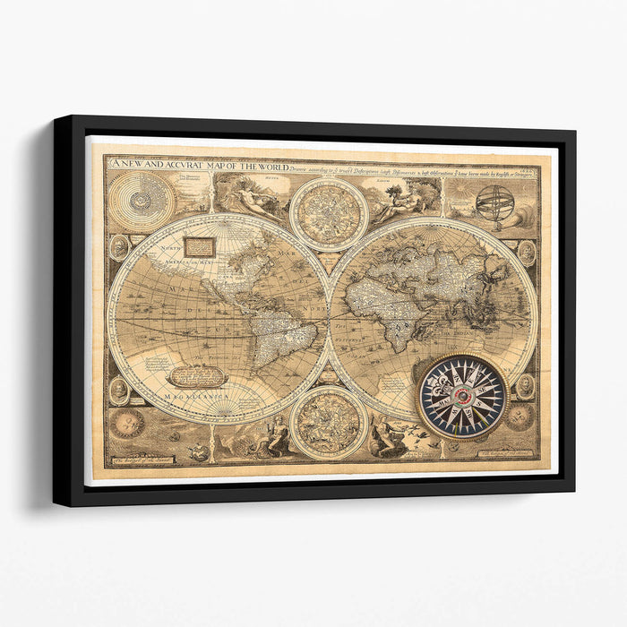 A new and accvrat map of the world Floating Framed Canvas