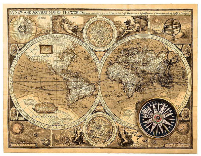 A new and accvrat map of the world Wall Mural Wallpaper - Canvas Art Rocks - 1