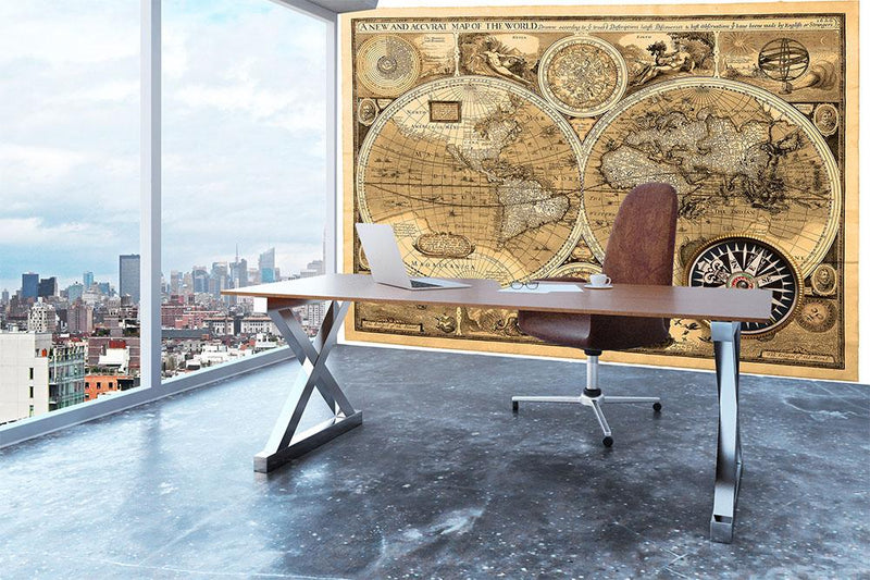 A new and accvrat map of the world Wall Mural Wallpaper - Canvas Art Rocks - 3
