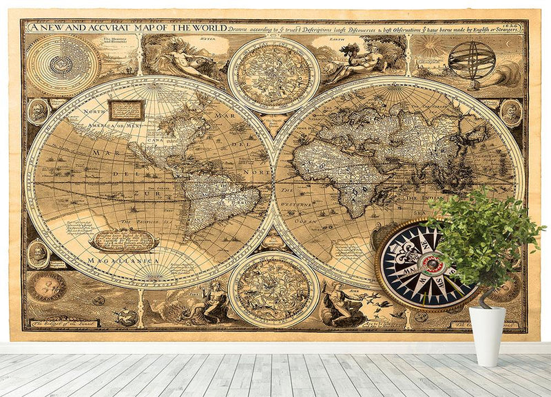 A new and accvrat map of the world Wall Mural Wallpaper - Canvas Art Rocks - 4