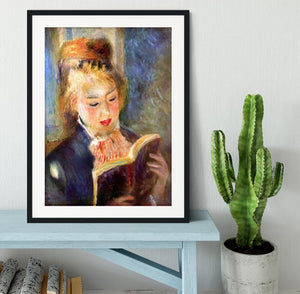 A reading girl1 by Renoir Framed Print - Canvas Art Rocks - 1