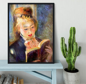 A reading girl1 by Renoir Framed Print - Canvas Art Rocks - 2