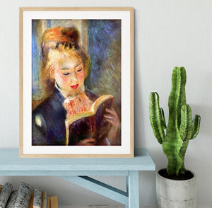 A reading girl1 by Renoir Framed Print - Canvas Art Rocks - 3