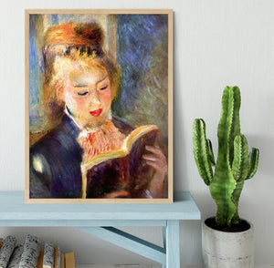 A reading girl1 by Renoir Framed Print - Canvas Art Rocks - 4