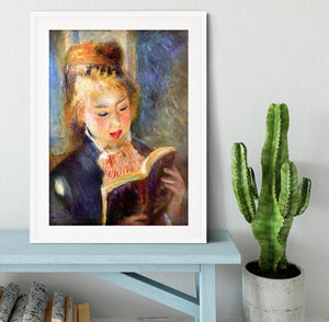 A reading girl1 by Renoir Framed Print - Canvas Art Rocks - 5
