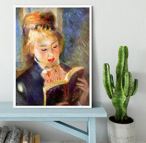 A reading girl1 by Renoir Framed Print - Canvas Art Rocks -6