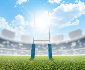 A rugby stadium with rugby posts Wall Mural Wallpaper - Canvas Art Rocks - 1