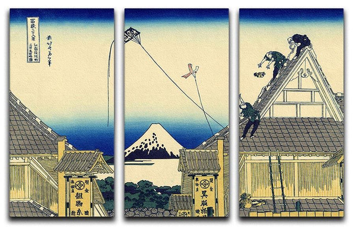 A sketch of the Mitsui shop by Hokusai 3 Split Panel Canvas Print