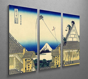 A sketch of the Mitsui shop by Hokusai 3 Split Panel Canvas Print - Canvas Art Rocks - 2