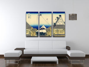 A sketch of the Mitsui shop by Hokusai 3 Split Panel Canvas Print - Canvas Art Rocks - 3