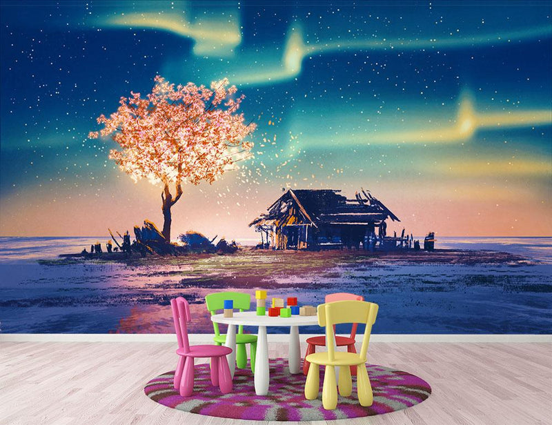 Abandoned house and fantasy tree Wall Mural Wallpaper - Canvas Art Rocks - 1