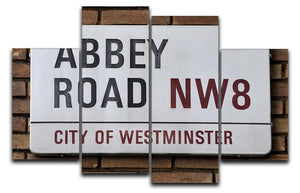 Abbey Road Street Sign 4 Split Panel Canvas  - Canvas Art Rocks - 1