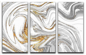 Abstract Swirled White Grey and Gold Marble 3 Split Panel Canvas Print - Canvas Art Rocks - 1