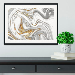 Abstract Swirled White Grey and Gold Marble Framed Print - Canvas Art Rocks - 1