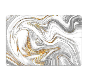 Abstract Swirled White Grey and Gold Marble HD Metal Print - Canvas Art Rocks - 1