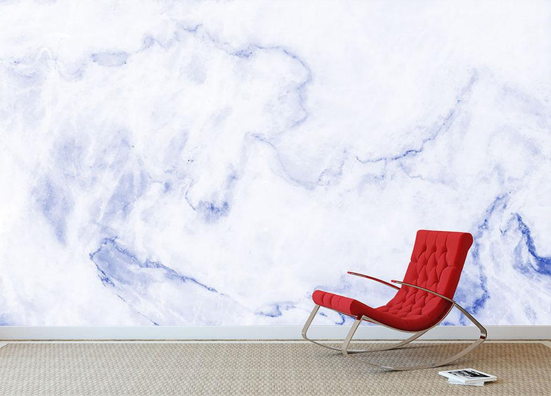 Abstract blue marble patterned Wall Mural Wallpaper - Canvas Art Rocks - 1