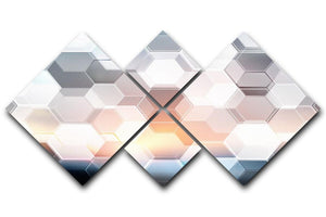 Abstract modern tech hexagon 4 Square Multi Panel Canvas  - Canvas Art Rocks - 1