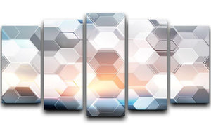 Abstract modern tech hexagon 5 Split Panel Canvas  - Canvas Art Rocks - 1