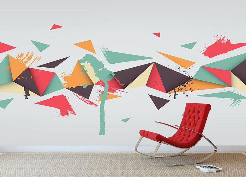 Abstract texture with triangles Wall Mural Wallpaper - Canvas Art Rocks - 1