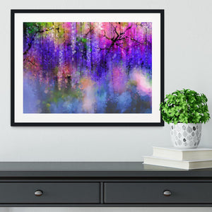 Abstract violet red and yellow color flowers Framed Print - Canvas Art Rocks - 1