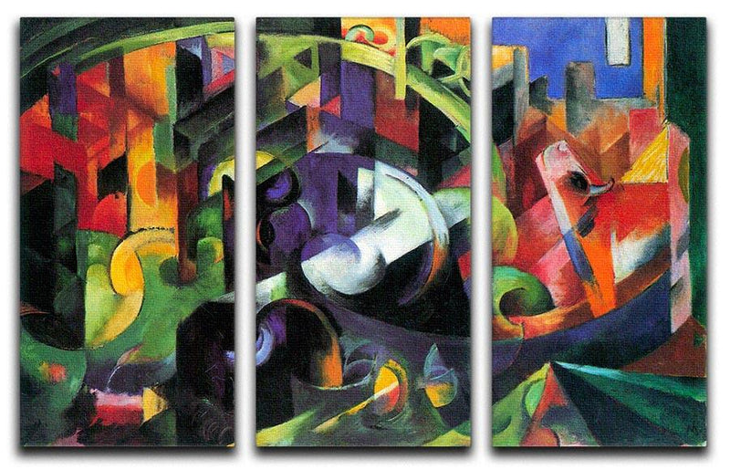 Abstract with cattle by Franz Marc 3 Split Panel Canvas Print - Canvas Art Rocks - 1