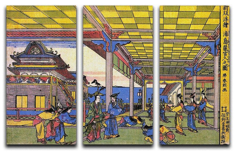 Advent of Urashima at the Dragon palace by Hokusai 3 Split Panel Canvas Print - Canvas Art Rocks - 1