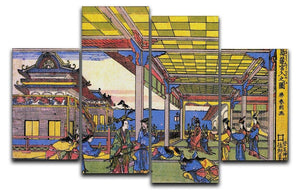 Advent of Urashima at the Dragon palace by Hokusai 4 Split Panel Canvas  - Canvas Art Rocks - 1